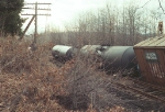Derailed cars from Easter Sunday wreck