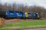 A Conrail blue GP38-2