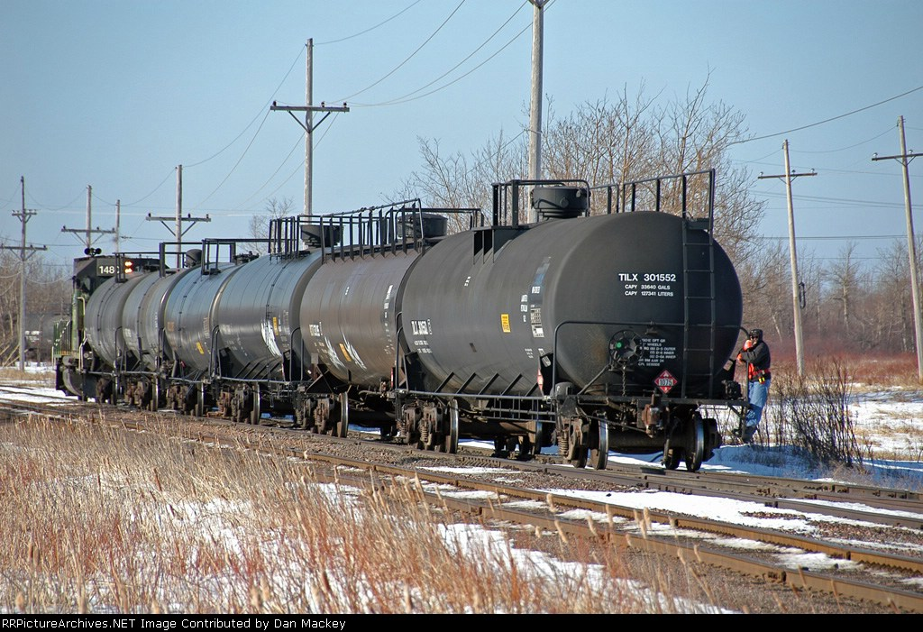 BNSF 1480 with a switchwoman riding the shove