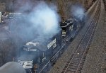 NS 7047, 5578, and 5559 at Old Lindwood Rd. Blowing Soot