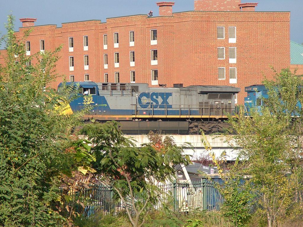 Empty CSX coal train moving west