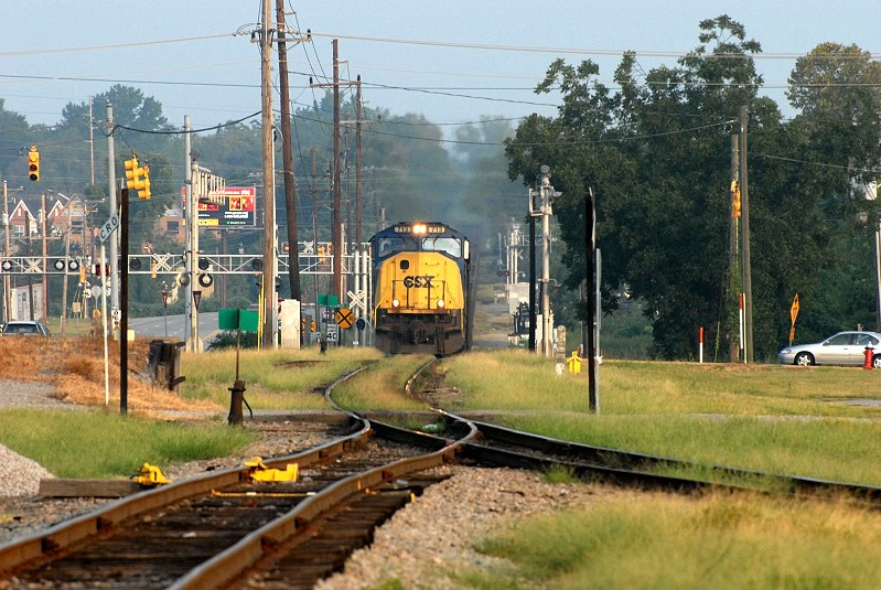 N382 crosses rosewood drive heading to the csx tracks at andrews yard