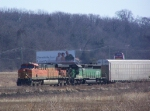 BNSF 7682 Leads a Westbound Autorack Train