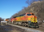 Three Examples of Common BNSF Power (Dash-9's) Lead a Piggyback Train