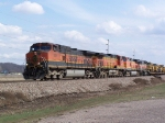 BNSF 1076 Leads Mixed Freight into Town