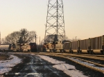 Westbound and eastbound CN trains meet