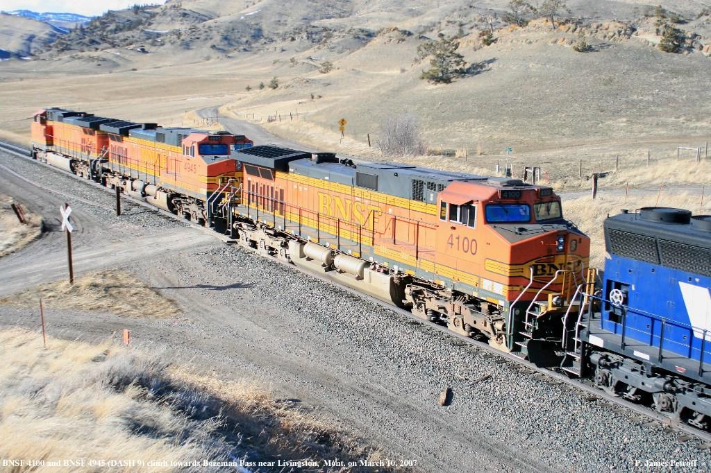 BNSF 4100 and BNSF 4945 climb to Bozeman Pass