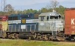 WAMX 3846 is the last of five power units of a Louisiana Southern freight sitting in the yard