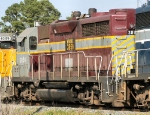 Louisiana Southern's WAMX 3850, a, ex-SP GP35R, idles in the yard