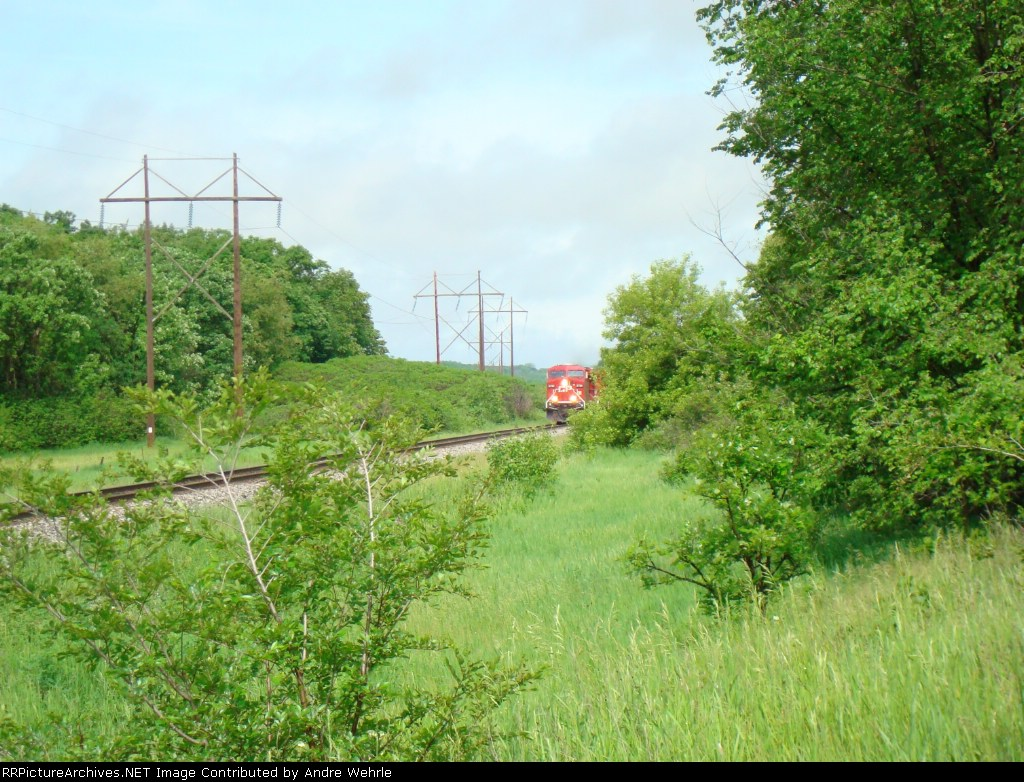 CP 8786 east appears as a spot of red amongst the green