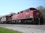 CP 8628 on a parked train with CP 8849 & 2 Geeps