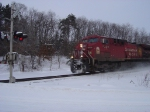 CP 9528 leads westbound train No. 185 in the snow