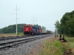 The colorful lashup sits in Portage East Siding waiting to head west