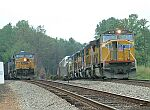 Trains waiting to get through Greenwood