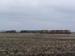 A Long Freight Train Sits on the Mason City Sub