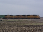 A Trio of SD70M's Sit With their Freight on the Mason City Sub