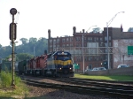 Four SD40's Trudge Through Town With a Northbound Grain Train