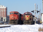 WC 3024 (Local Power) Rests by a Westbound CN Manifest Train in the CN Yard During a Crew Change