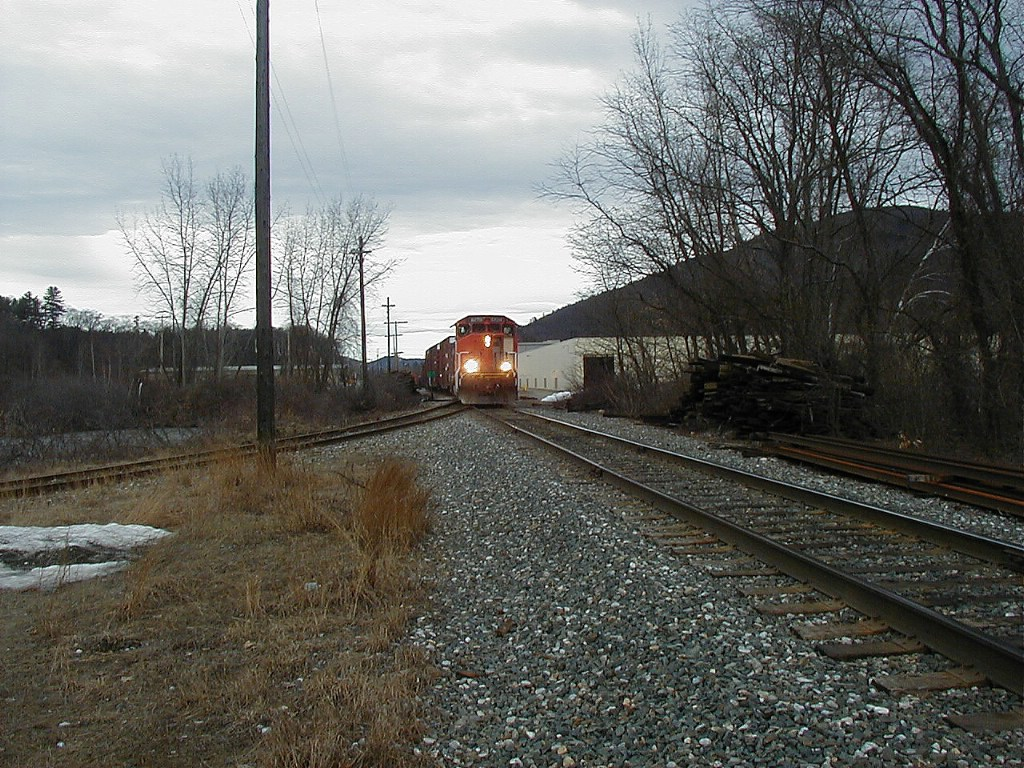 NECR train, with ex CN unit leading, in yard 3/30/07