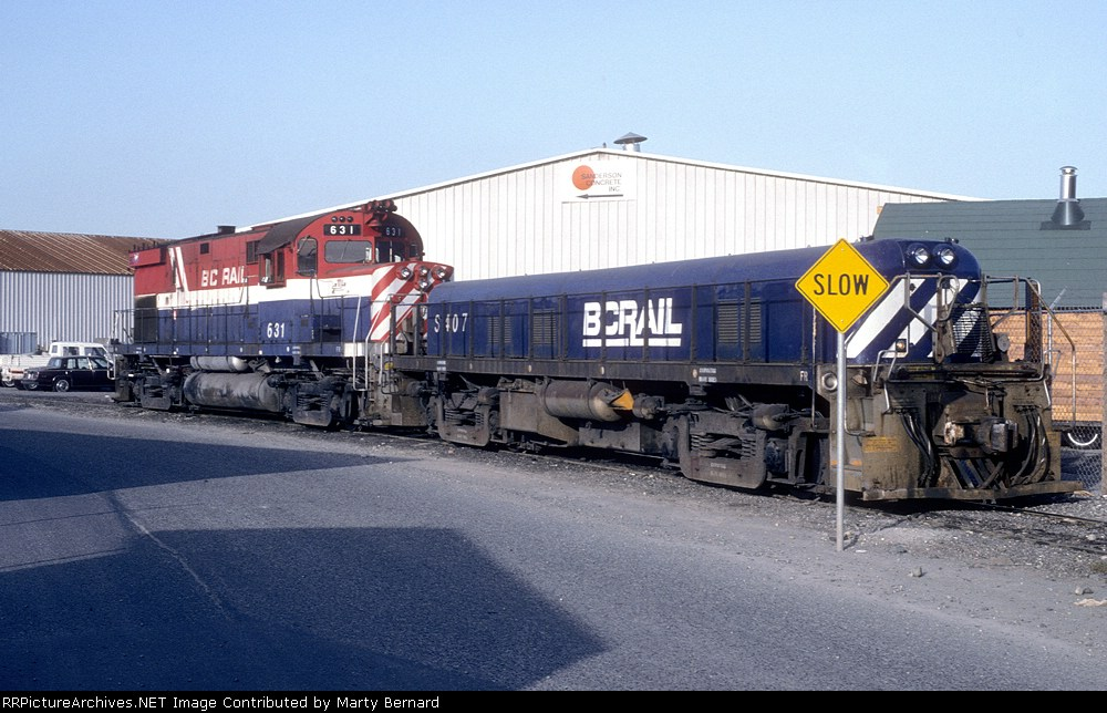 BC Rail S407 and 631 Probably Didn't Need That Sign