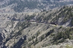 BCOL 4603 and 3906 and Train in the Fraser River Canyon North of Lillooet, BC