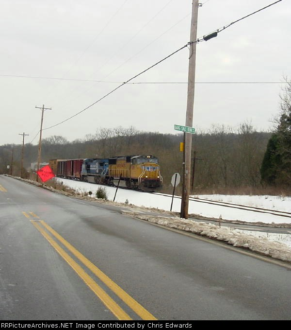 UP 4191 leads NS L-51.  Ironic UP power pulling an ex UP car.