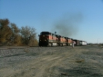 3 BNSF C44-9W's lead a NB/WB train out of the siding at Baxter Colo