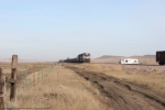 DME 4003 on the point of the loaded railtrain dumping rail just north of Belle Fourche, SD.