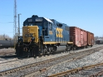 CSX 2509 leads Y106 back into the yard as Q326 waits behind them at Plaster Creek
