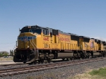 UP 4445 leads a WB intermodal at 2:23pm