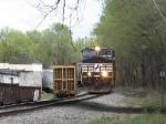 NS 9401 moves back onto a siding so NS 6108 can come through
