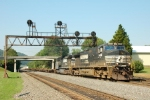 NS 9486 pulling a TOFC under the ex-PRR signal bridge