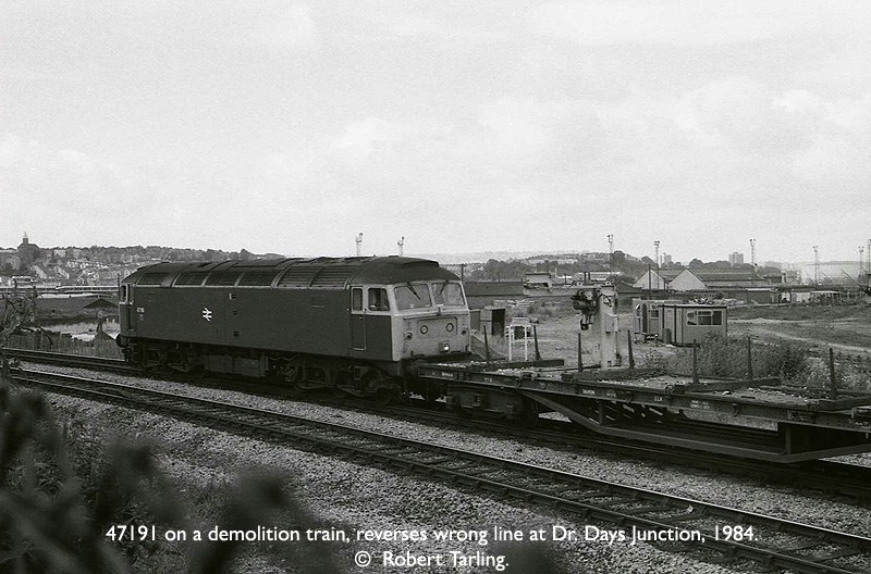 47191 on a Demolition train reverses wrong-line at Dr. Days Junction, 1984.