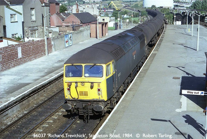 56037 'Richard Trevithick' (named after the father of the Steam Locomotive), on a Down Oil train comprising loaded TEAs.