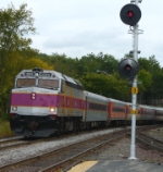 MBTA #1006 Leads an Outbound Commuter Train