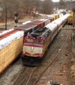 Outbound MBTA Commuter Train Passes SEWA