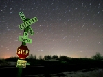 Crossbuck on a starry night.
