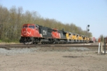 CN 5731 west with new motors for the UP
