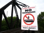 """No Trespassing"" on the Southern To Danville Bridge Milepost 19.4"