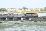NJT 4205 pushes a train acrosss the Manasquan river