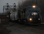 An Ex-Conrail Dash8-40CW Carrys a 504 Axle Manafest Train