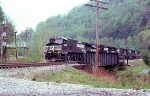NS 9080 and 5 more heading back to ex Virginian Elmore yard