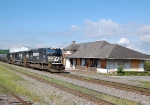 Trio of SD70`s pass the Cleveland Tn depot