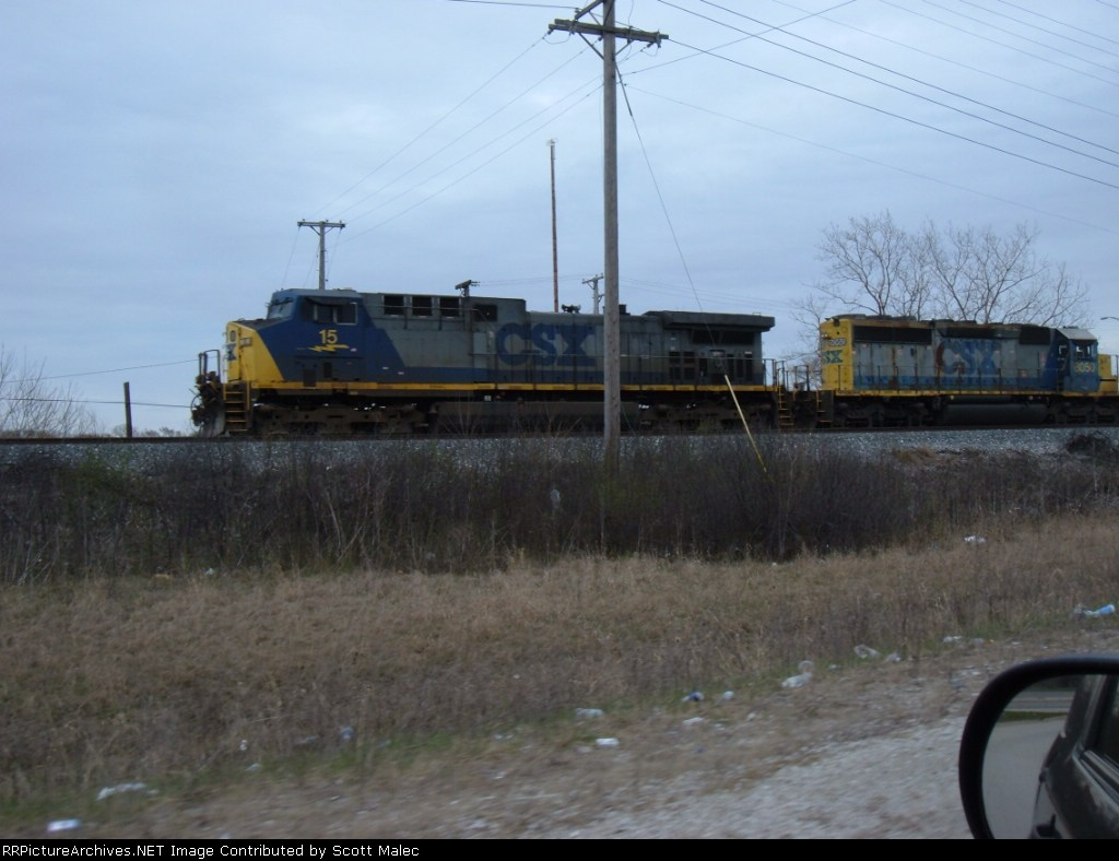 CSX 15 & 8050 (Shot from moving truck on 95th Street ramp)