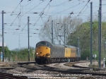 37602 leads 37606 on 1Z18, the 0858 Peterborough - Doncaster via King's Cross OHL test train.