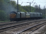 37606 tailing 37602 on 1Z18, 0934 Doncaster - Doncaster via King's Cross OHL test train. One of the locos failed at Hitchin with oil leaks. Train terminated there.