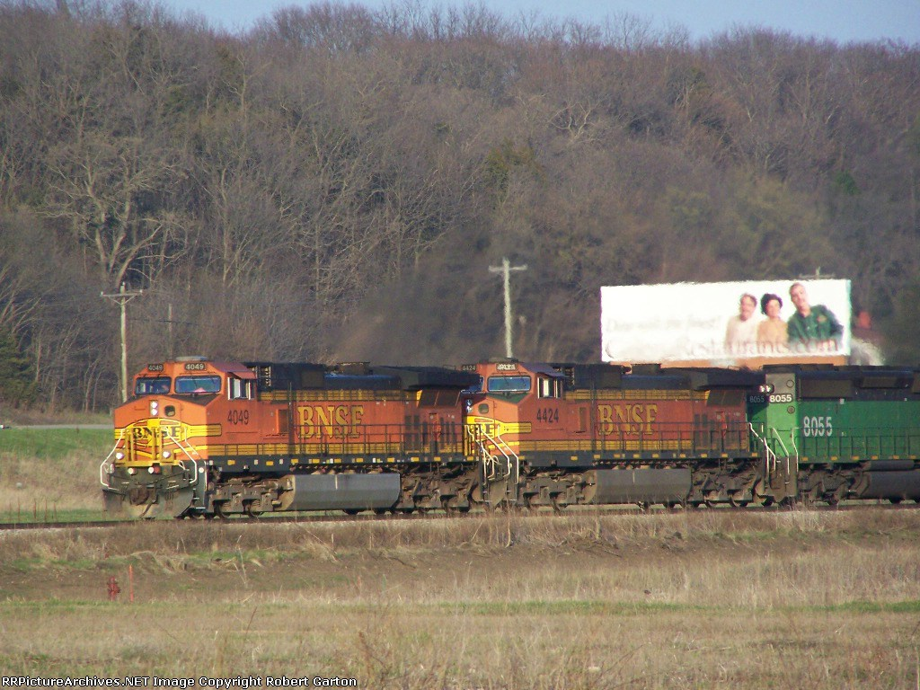 BNSF 4049 Leads a Piggyback Consist