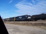 Brand New NS 7536 Helps Pull a Few Freight Cars