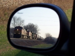 BNSF 4869 Approaches From Behind; Viewed Through My Rear-View Mirror