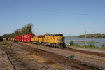 UP 7686  EB stacktrain passes stoped coal train on this nice 80 degree fall day.